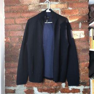 Banana Republic Full Zip Merino Wool Navy Sweater
